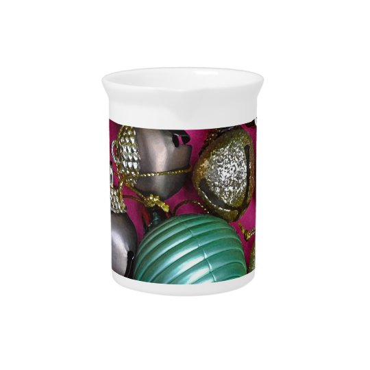 Colorful christmas ornaments pitcher