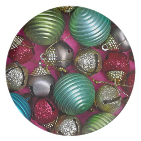 Colorful christmas ornaments plate