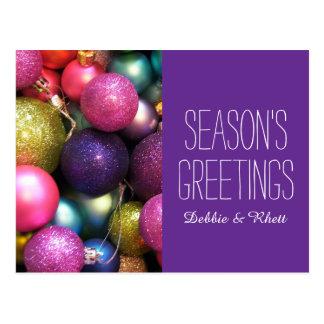Colorful Christmas ornaments Postcard