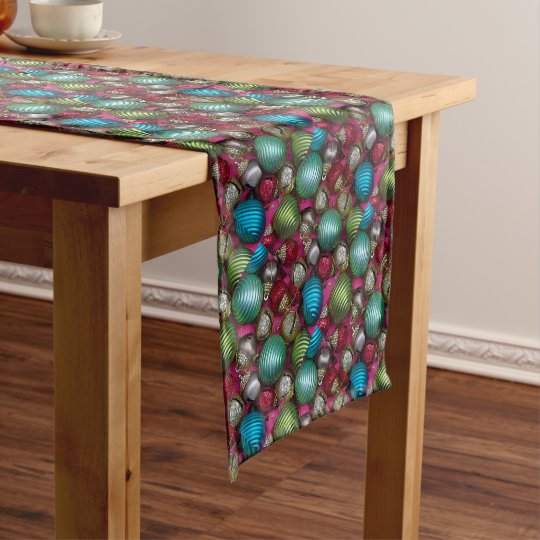Colorful christmas ornaments short table runner