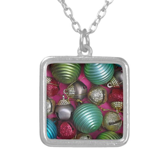 Colorful christmas ornaments silver plated necklace