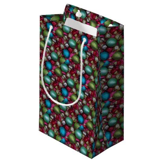 Colorful christmas ornaments small gift bag
