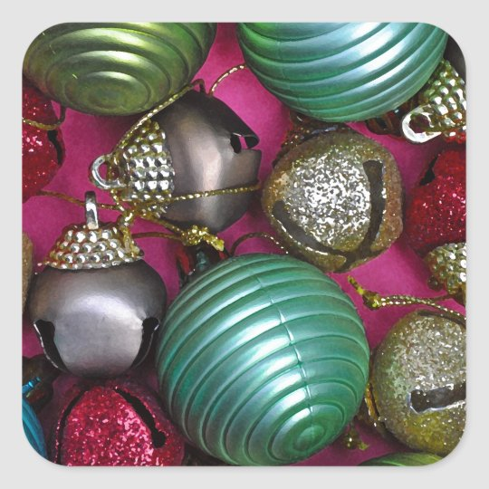 Colorful christmas ornaments square sticker