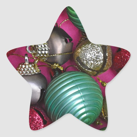 Colorful christmas ornaments star sticker