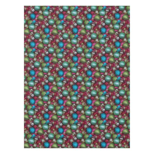 Colorful christmas ornaments tablecloth