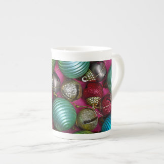 Colorful christmas ornaments tea cup