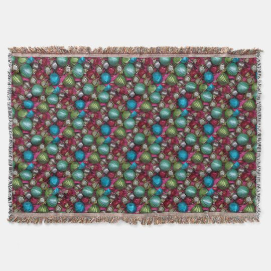 Colorful christmas ornaments throw blanket
