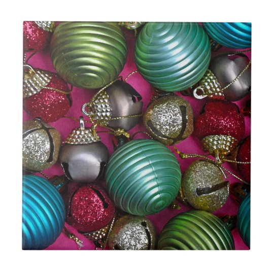 Colorful christmas ornaments tile