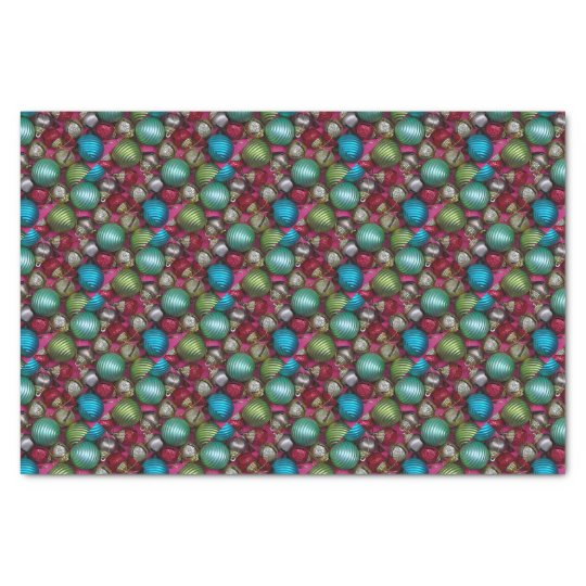 Colorful christmas ornaments tissue paper