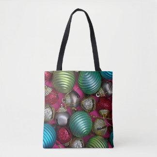 Colorful christmas ornaments tote bag