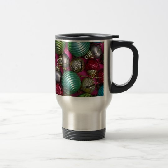 Colorful christmas ornaments travel mug