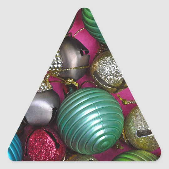Colorful christmas ornaments triangle sticker