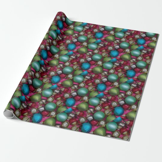 Colorful christmas ornaments wrapping paper