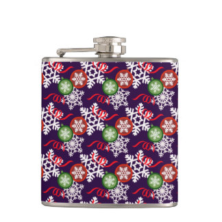 Colorful Christmas Pattern Hip Flask