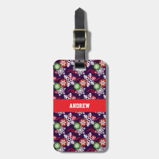 colorful Christmas Pattern Luggage Tag