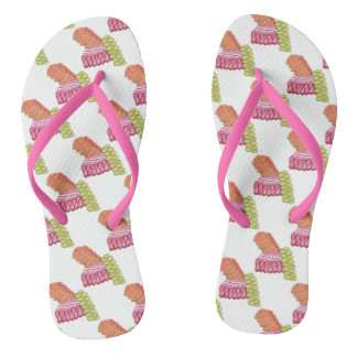 Colorful Christmas Ribbon Candy Holiday Flip Flops