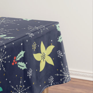 Colorful Christmas Snowflakes & Flowers Pattern Tablecloth