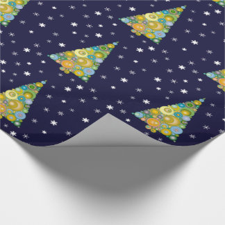 Colorful Christmas Tree with Snow - Wrapping Paper