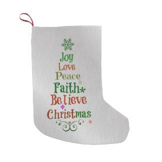 Colorful Christmas Tree Words Small Christmas Stocking