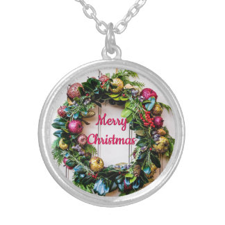 Colorful Christmas Wreath Necklace