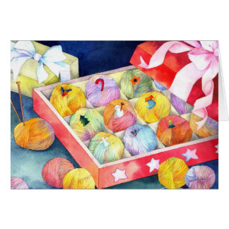 Colorful Christmas Yarn Ball Gift Box Card