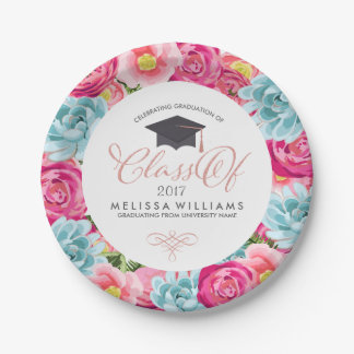 Colorful Circle Flowers Frame Class Of 2017 7 Inch Paper Plate