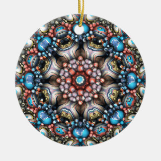 Colorful Circle of 3D Shapes Round Ceramic Ornament