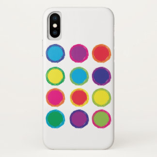 Colorful Circle Pattern Green Pink Violet Blue Red iPhone X Case