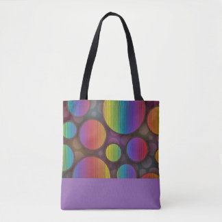 Colorful Circles Abstract Purple Tote Bag