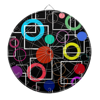 Colorful circles and white squares dartboard