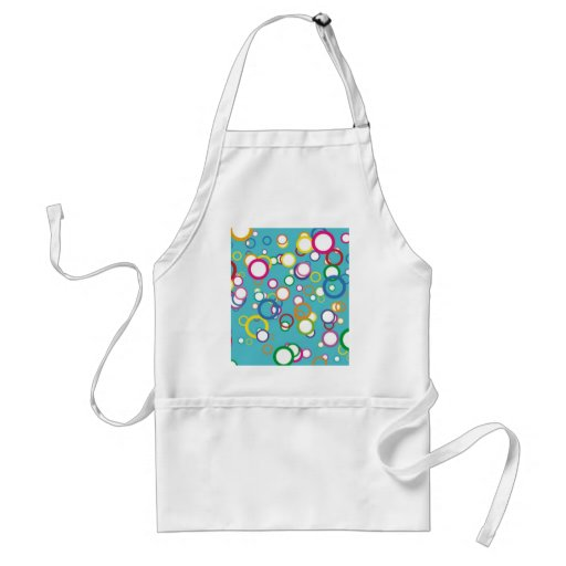 Colorful Circles Bubbles on Aqua Teal Pattern Apron