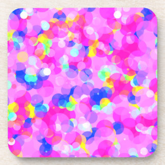 Colorful Circles Candy Pink Multi Colored Pattern Coaster