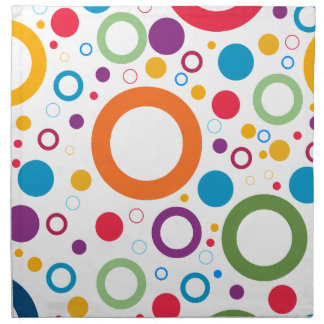 COLORFUL CIRCLES, CHEERFUL GEAOMETRICAL CIRCLES NAPKIN