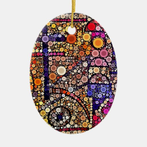 Colorful Circles Mosaic Southwestern Cross Design Ornament