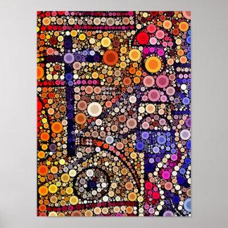 Colorful Circles Mosaic Southwestern Cross Design Poster