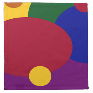 Colorful Circles & Ovals on Cloth Napkin