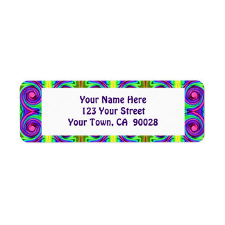 colorful circles pattern return address label