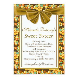 Colorful circular pattern, ribbon Sweet 16 Invite