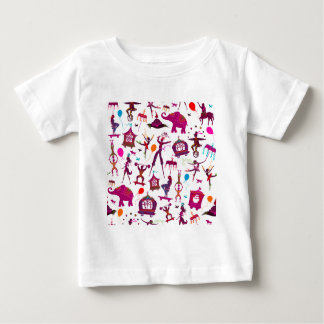 colorful circus characters on white baby T-Shirt