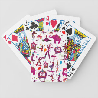 colorful circus characters on white bicycle playing cards