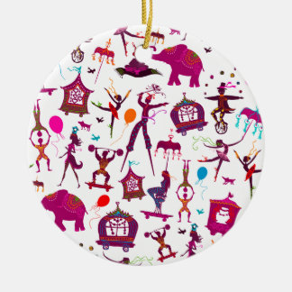 colorful circus characters on white ceramic ornament