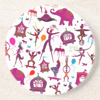 colorful circus characters on white coaster