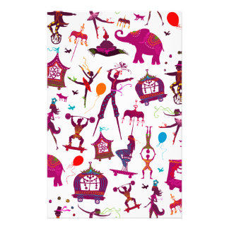 colorful circus characters on white stationery