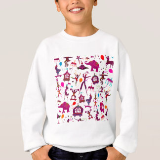 colorful circus characters on white sweatshirt