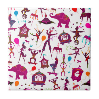 colorful circus characters on white tile