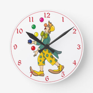 Colorful Circus Clown Juggler Round Clock