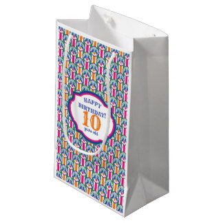 Colorful Circus Show Ponies Custom Age Birthday Small Gift Bag