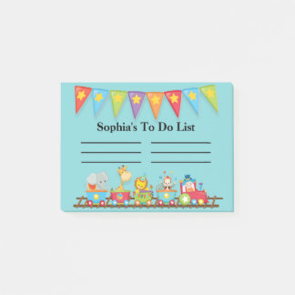 Colorful Circus Train on Blue Child's To Do List Post-it Notes