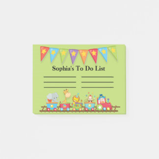 Colorful Circus Train on Green Child's To Do List Post-it Notes