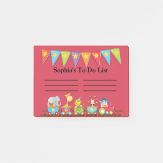 Colorful Circus Train on Red Child's To Do List Post-it Notes